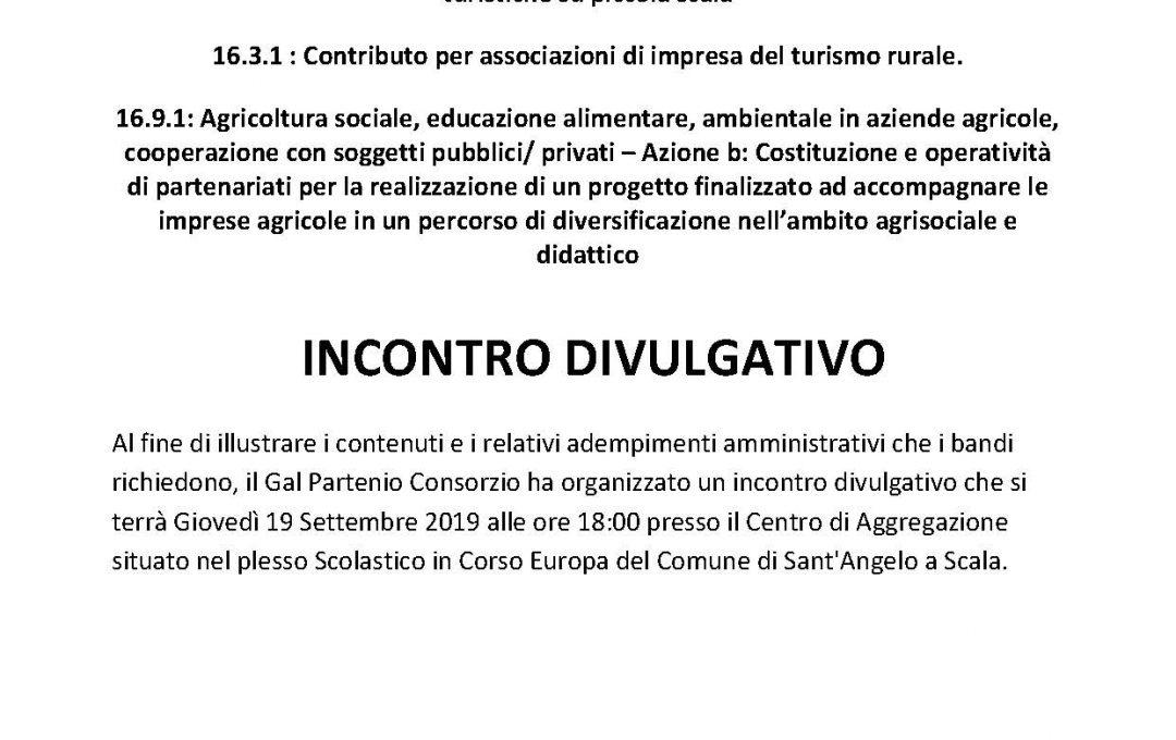 Incontro Divulgativo T.I. 7.5.1 – T.I 16.3.1 – T.I 16.9.1 Azione B – 19 Settembre 2019 ore 18:00 – Sant'Angelo a Scala