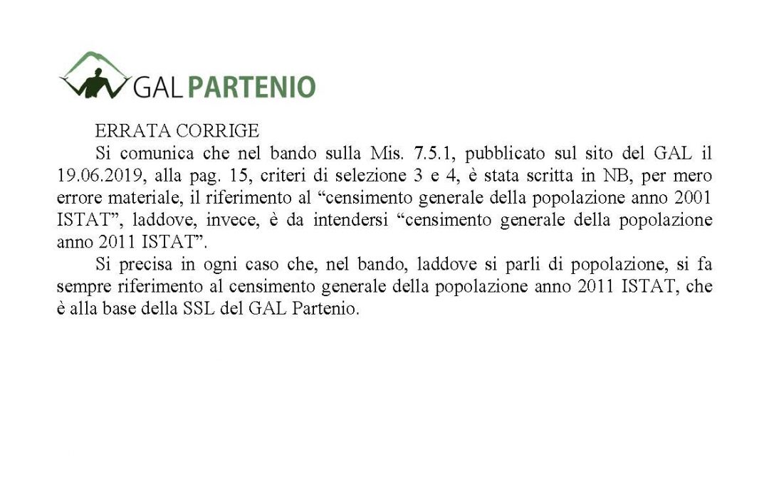 PSR 2014/2020 GAL PARTENIO T.I 7.5.1 – ERRATA CORRIGE