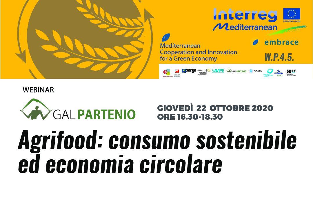 Webinar sull'Economia circolare  – Agrifood, consumo sostenibile ed economia circolare