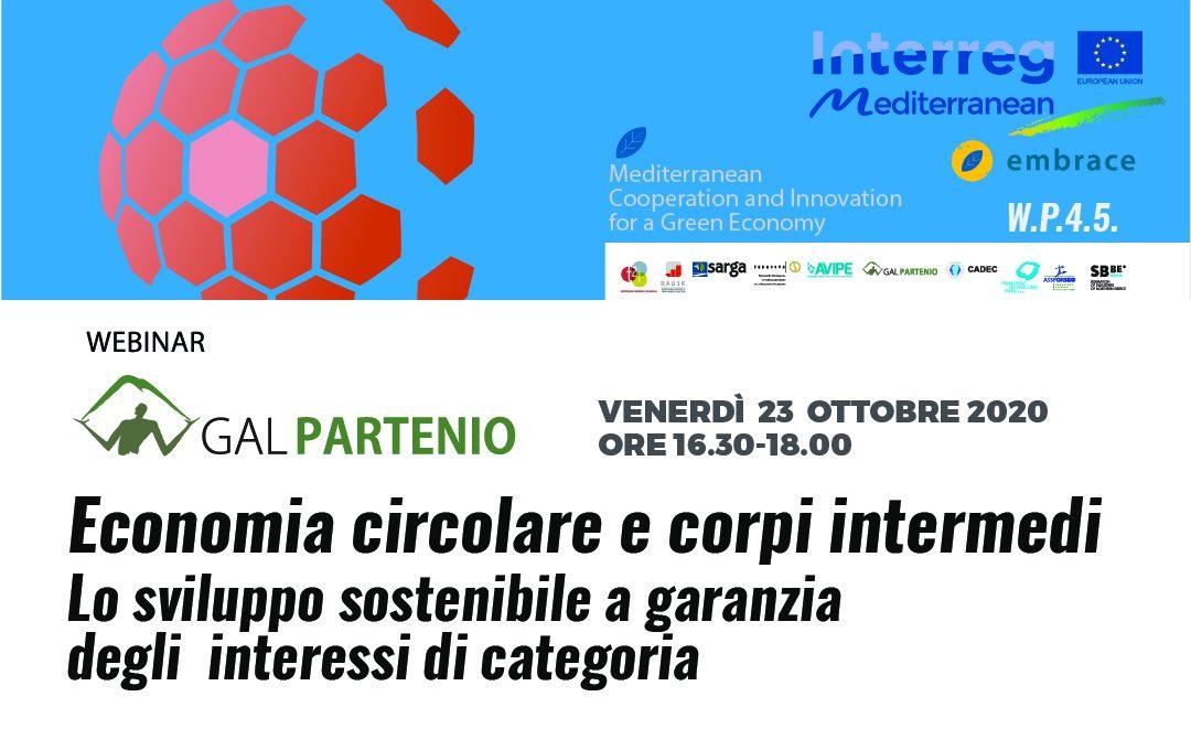 Webinar sull'Economia circolare  –   Economia circolare e corpi intermedi: lo sviluppo sostenibile a garanzia degli interessi di categoria