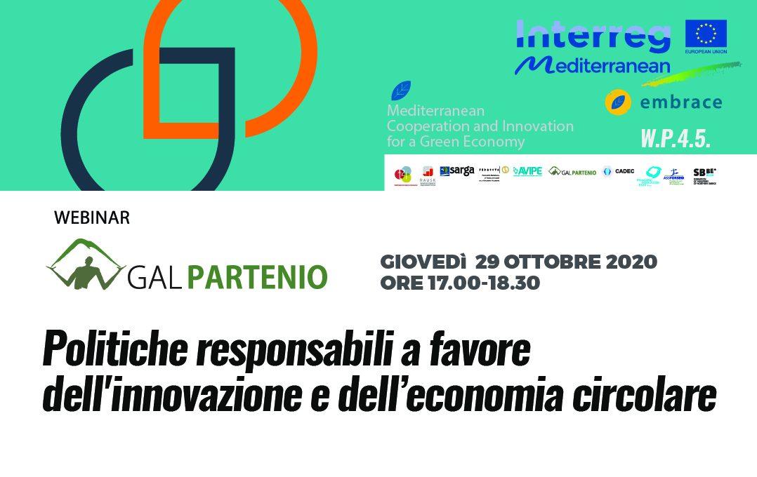 Webinar sull'Economia circolare  –  Politiche responsabili a favore dell'innovazione e dell'economia circolare