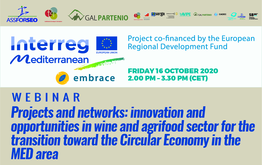 WEBINAR – Projects and networks: innovation and opportunities in wine and agrifood sector for the transition toward the Circular Economy in the MED area