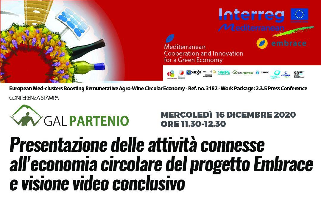 CONFERENZA STAMPA – Presentazione delle attività connesse all'economia circolare del progetto Embrace e visione video conclusivo